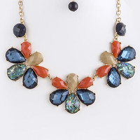 FACETED FAUX JEWEL LINK NECKLACE SET