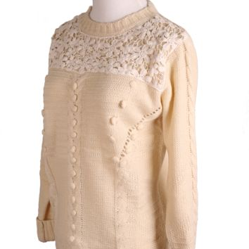 Crochet Floral Cable Jumper