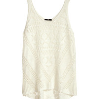 H&M - Pattern-knit Tank Top - White - Ladies