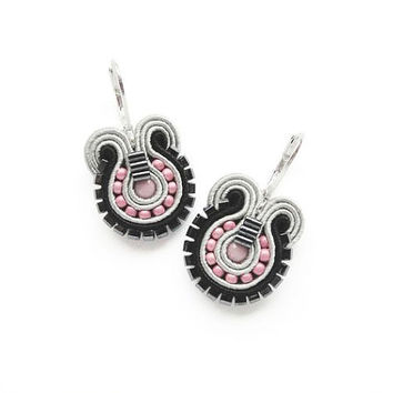Grey Earrings Sale Gray Earrings Soutache Earrings Pastel Pink and Grey Earrings Small Drop Earrings Pink and Gray Earrings Pastel Earrings