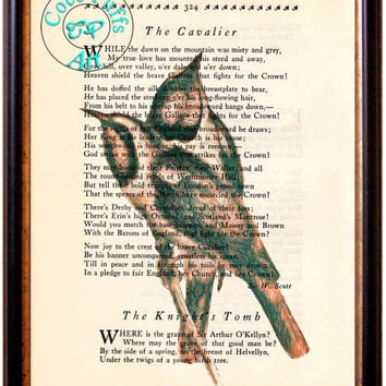 Brown Twining Birds Drawing Beautifully Upcycled Vintage Dictionary Page Book Art Print, Bird Print