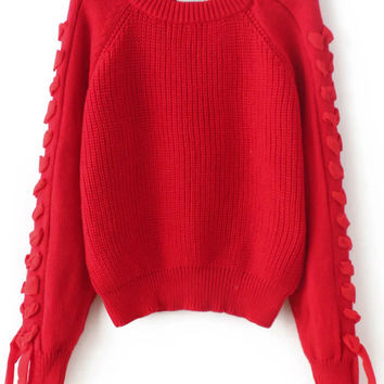 Red Lace Up Raglan Sweater