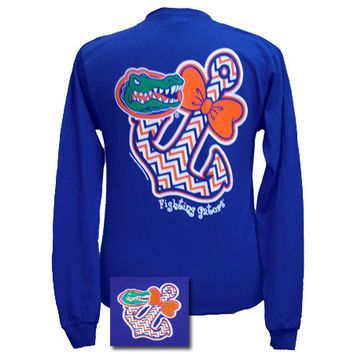 New Florida Gators Chevron Anchor Bow Sweet Girlie Bright Long Sleeves T Shirt