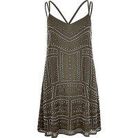 River Island Womens Khaki green embellished slip dress