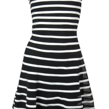 Betsy & Adam Women's Mesh Striped Flare Dress