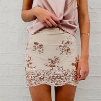 PEAPIH3 New fall fashion Slim sequined embroidery A word skirt sexy package hip skirts women