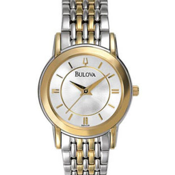 Bulova Two Tone Classic Ladies Watch - Silver/White Dial - Bracelet