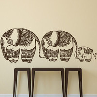Elephants Family Wall Decal Indian Decal Vinyl Sticker Bohemian Bedding Boho Decor for Home Yoga Studio Bedroom Art T130
