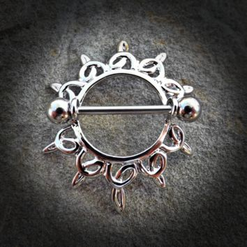Swirling Sunburst Tribal Shield Nipple Ring with 316L Surgical Steel Barbell 14ga