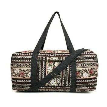 Tapestry Duffel bag, Floral Weekender bag, Big Overnight bag, Hippie travel bag Carry on bag, Boho Duffle bag Rose Flower, Ethnic Vegan bag