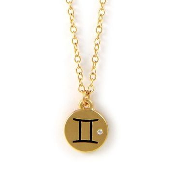 Gemini Gold Chain Necklace with Crystal Accent
