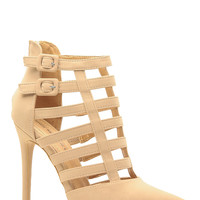 Nude Faux Nubuck Strapped Pointed Toe Heels