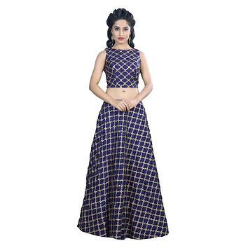 Beautiful Navy Blue & Gold Flared Lehenga and Crop Top Set