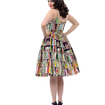 1950s Style Chelsea Book Print Dress - Unique Vintage - Prom dresses, retro dresses, retro swimsuits.