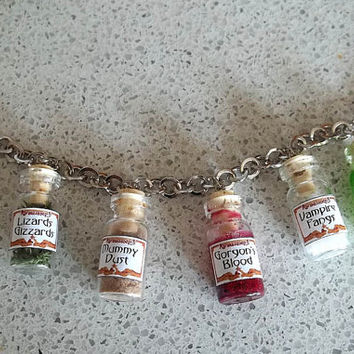 Mini Potions Bottle Charm Bracelet 3 by thecurioddityshop on Etsy