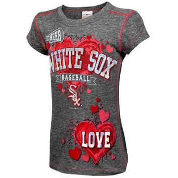 Chicago White Sox Youth Girls Cheer Tri-Blend Heathered T-Shirt - Ash