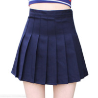 The new high waist was thin skirt college wind a word pleated skirt tennis skirt woman Dark blue