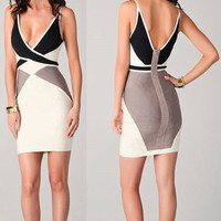 Plunging Neckline Color Block Bodycon Dress