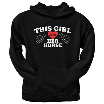 LMFCY8 This Girl Loves Her Horse Black Adult Pullover Hoodie