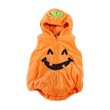 Child Costume Bodysuit with Hat Vest Baby Halloween Romper Winter Sleeveless Pumpkin Hooded Infant Clothes Christmas Clothes