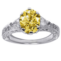 Three stone style 2.26 carats yellow canary oval center diamond ring gold 14K