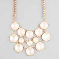 Full Tilt Round Facet Stone Bib Statement Necklace Ivory One Size For Women 22683916001