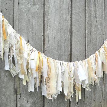 White & Gold Wedding Garland, Tattered Fabric Barn Party Banner, Romantic Prairie Reception Table Decor, Birthday Photo Prop Backdrop