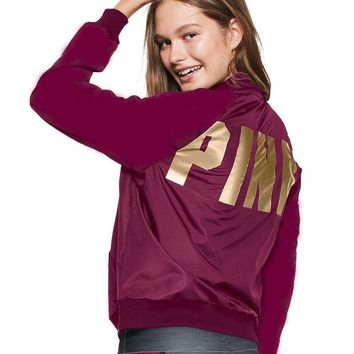 Victoria's Secret PINK Women Men Fashion Letter Print Long-sleeves Tops Sweater Coat Wine Red