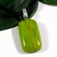 Marbled Green and Yellow Fused Glass Pendant, Art Glass Jewelry