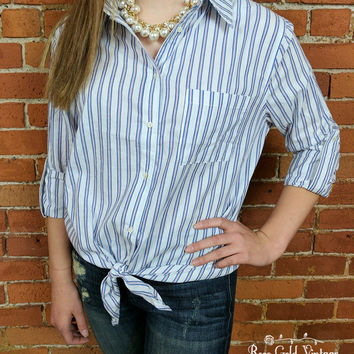Tie Front Oxford Shirt - Blue Stripe - Small or Medium only