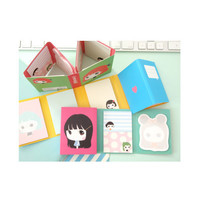 2young Cute girl folding sticky memo note set