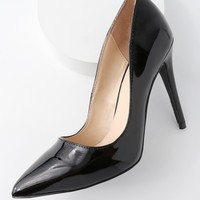Verna Black Patent Pointed Pumps
