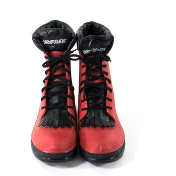 Rain Boots RED Waterproof Rubber Lace Up Winter Snow Boots Women size 9