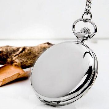 Retro Classical 4.5cm Size Silver Polish Quartz Men Pocket Watch Steampunk Necklace Gift Quartz Watch Relogio