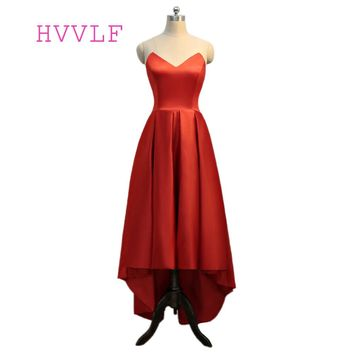 Red 2018 Prom Dresses A-line V-neck Short Front Long Back Satin Backless Women Long Prom Gown Evening Dresses Evening Gown