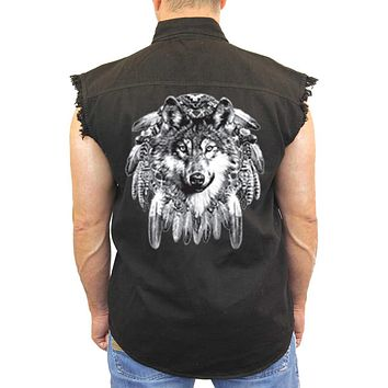 Men/'s Sleeveless Denim Shirt Warrior Native Skull