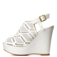 White Peep Toe Laser-Cut Slingback Wedges by Charlotte Russe