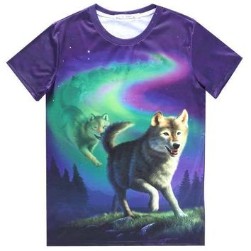 Aurora Wolf Pack Animal Totem Graphic Tee T-Shirt in Purple