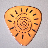 Copper Guitar Pick with Spiral Sun Handmade with Dots and Chasing