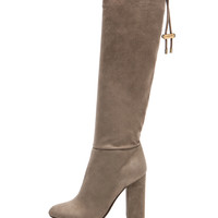 Knee High Suede Boots in Mastic