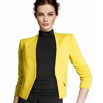 Women Stylish Korean Candy Color Slim Short Casual Suit Jacket Blazer Coat