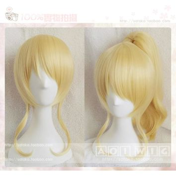 High Quality Anime LoveLive! Love Live Ayase Eli Wig Light Blonde Cosplay Wigs Ponytail Hair Wigs