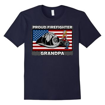 Mens Proud Firefighter Grandpa Firefighting Patriotic T-shirt