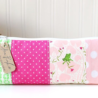 Pink and Green Pencil Case Cute Pencil Case Long Zipper Pouch Frog Pencil Pouch