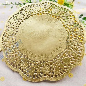 100 pcs  6.5''=165mm Gold Round Paper Lace Doilies / Doyleys,Placemat Craft Wedding Christmas Tableware Decoration