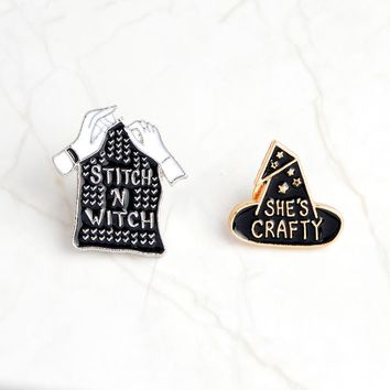 Fashion explosions enamel personality brooch original he is a witch magic gloves collar corsage armband denim jacket lapel badge