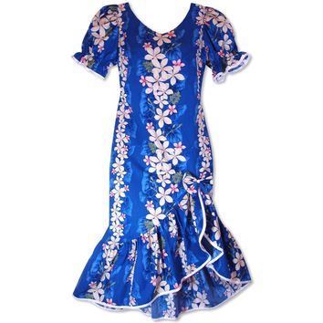 Kuulei Blue Makani Hawaiian Muumuu Dress