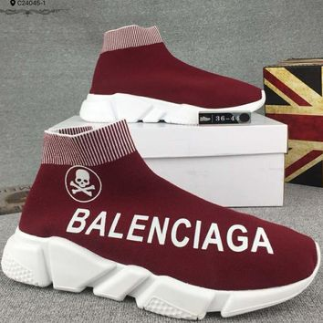 Balenciaga fashion casual knitted shock absorber casual sneakers F-CSXY red