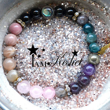 The PERFECT Valentines Day Gift, Angel Protection Bracelet, Angel Jewelry, Crystal Healing, Labradorite, Rose Quartz, Obsidian, Pyrite