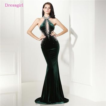 Dark Green 2018 Prom Dresses Mermaid Halter Beaded Crysals Velvet Elegant Long Women Prom Gown Evening Dresses Robe De Soiree